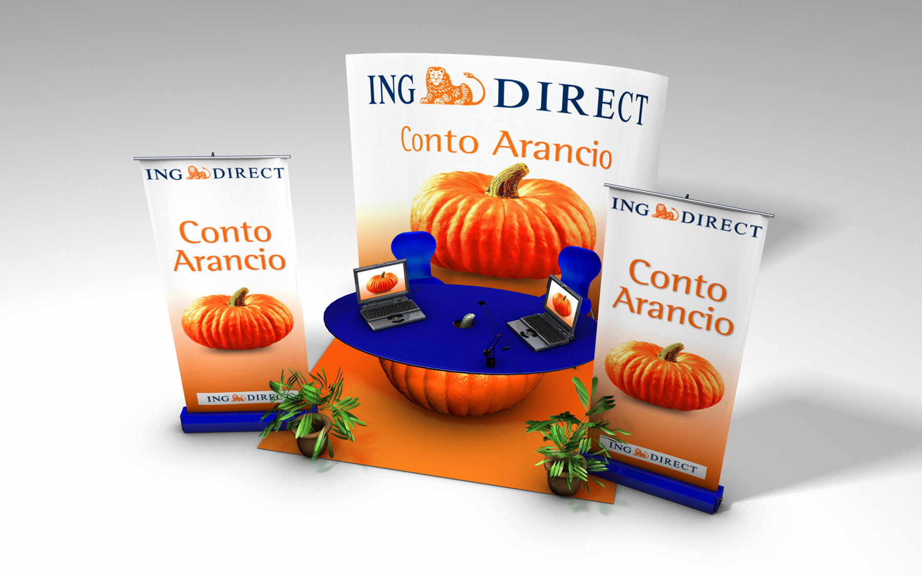 Sprint production</br>Ing Direct – Booth rendering